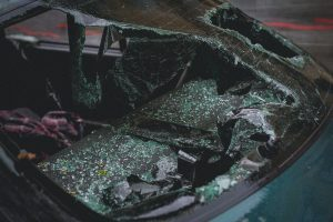 A vehicle with a shattered windshield