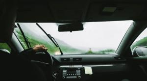 Driving through rain in the car