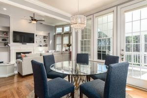 An open floor plan living and dining room